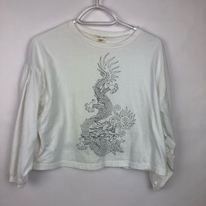 Urban Outfitters Dragon Graphic Crop Top M/L
